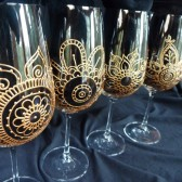 Custom wine glass sets. Wedding glassware.Hand painted henna style designs, crystal glass, dishwasher safe option to personalize