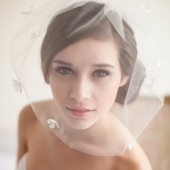 Tulle Birdcage Blusher Veil with Silk Flowers - Flora