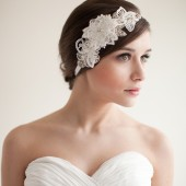 Lace Headband, Bridal Headpiece, Fascinator, Rhinestone Pearls, Flowers, Leaves - Mia
