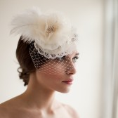 Bridal Mini Hat with Veil, Flower Fascinator, Feather Headpiece, Wedding Headpiece, Birdcage Veil- Elizabeth