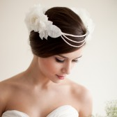 Silk Floral Crown, Bridal Head Piece, Hair Wreath with Pearls, Flower Halo - Constance