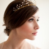 Wired Crystal and Pearl Crown, Bridal Crown, Wedding Tiara - Celeste
