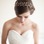 Twisted Wire Tiara, Mini Crown, Bridal Headpiece, Rhinestone, Pearls, Crystals - Helen