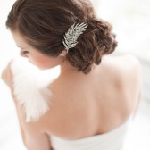 Rhinestone Bridal Comb, Jeweled Bridal Comb, Art Deco Bridal Comb, Ostrich Feather - Ruby