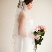 Bridal Cap Veil with Lace and Silk Flowers, Juliet Cap Bridal Veil - Camilla