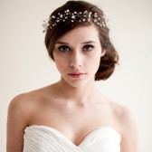 Bridal Crown Wedding Tiara Hair Wreath Floral Headband Bridal Halo Crystal Tiara Pearl Rhinestone- Jocelyn