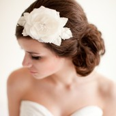 Silk Flower Comb with Crystal Twigs, Flower fascinator, Bridal Headpiece - Anna Mae