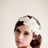 Lace Rhinestone Headband with Leaves - Olivia