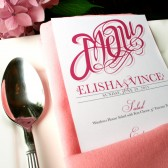 Elegant wedding menu cards with sophisticated script typography. Available in any color. Printable DIY or printed on thick card stock.