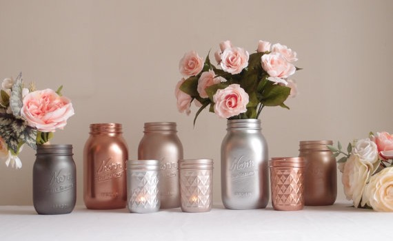 metallic mason jar collection