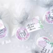 bridal shower favors, bridal tea, lip balm, peony, damask, pink