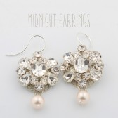 Midnight vintage bridal earrings