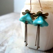 Pastel Teal and Brass Blossom Earrings