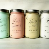 Mint and Blush Collection - Painted and Distressed Mason Jars
