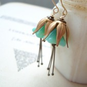 Mint Green Blossom Earrings