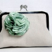 Beige and mint clutch