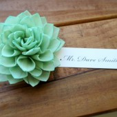 Mint Wedding Flower Wooden Place Cards