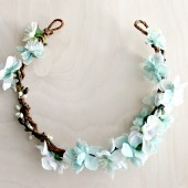 Romantic Aqua Floral Hair Wreath
