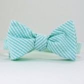 Mint Seersucker Bow Tie