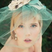 Mint Birdcage Veil with handmade flower.