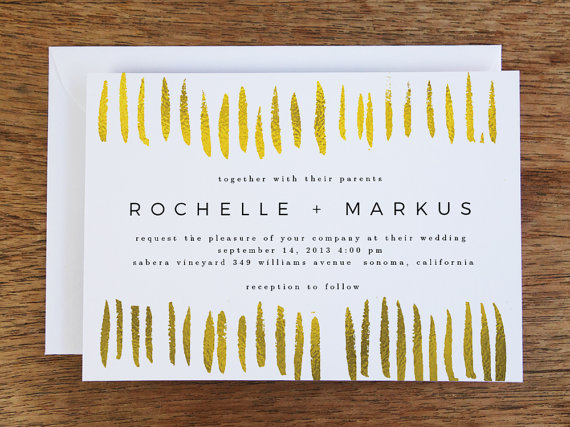 modern gold and black wedding invitation