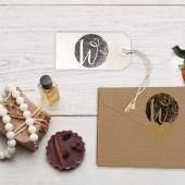 "Monogram keepsake stamp makes a great custom wedding favor stamp or gift wrap tag stamp. Initial rubber stamp is 2"" x 2."""