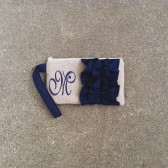 Personalized Navy Ruffle Wristlet
