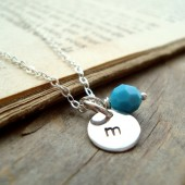 Personalized Initial Silver Charm Necklace With Birthstone Crystal