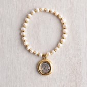 Monogram Seal Charm and White Pearl Bracelet