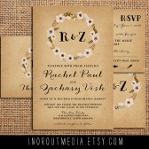 Floral Monogram Rustic Weddng Invitations