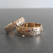 Rustic Moonrock Wedding Bands