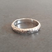 Rustic Textured Moonrock Wedding Band