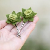 Felt Succulent Hair Pins in Moss