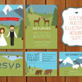Illustrated Mountain Wedding Invitation Suite