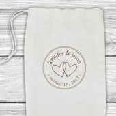 Custom wedding date or save the date stamp with two hearts