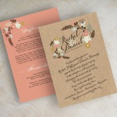 Peach and kraft, boho chic, botanical, country chic wedding invitations