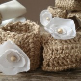 Crochet hemp napkin rings