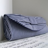 Nautical striped bow clutch