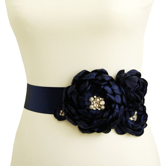 navy blue bridal dress sash