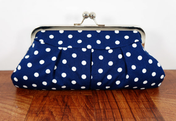 navy blue polka dot purse