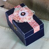 Navy and Coral Wedding Ring Box, Ring Bearer Box