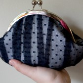 Navy blue lace clutch with dots