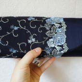 Navy blue silk clutch with lace