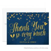 Navy & Gold Confetti Personalized Thank You Cards by The Spotted Olive
