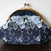 Navy blue silk and lace clutch wristlet