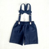 Oliver Set in Navy natural linen/cotton