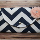 Navy Blue Chebron CLutch