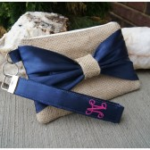 Navy Blue Bow Wristlet