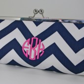 Navy Chevron Monogrammed Clutch