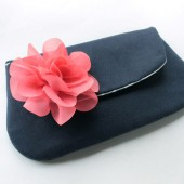 Bridesmaid Clutch, Navy and Coral Pink